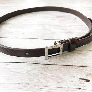 Thin Burgundy COACH Leather Belt